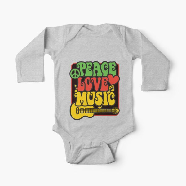 Rasta Peace, Love, Music Long Sleeve Baby One-Piece