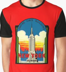 Empire State Building New York City Vintage Travel Decal Graphic T-Shirt
