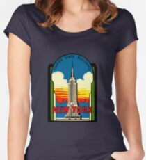 Empire State Building New York City Vintage Travel Decal Women's Fitted Scoop T-Shirt