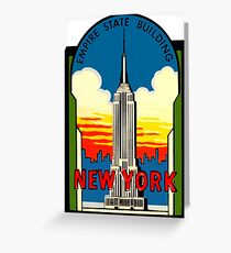 Empire State Building New York City Vintage Travel Decal Greeting Card