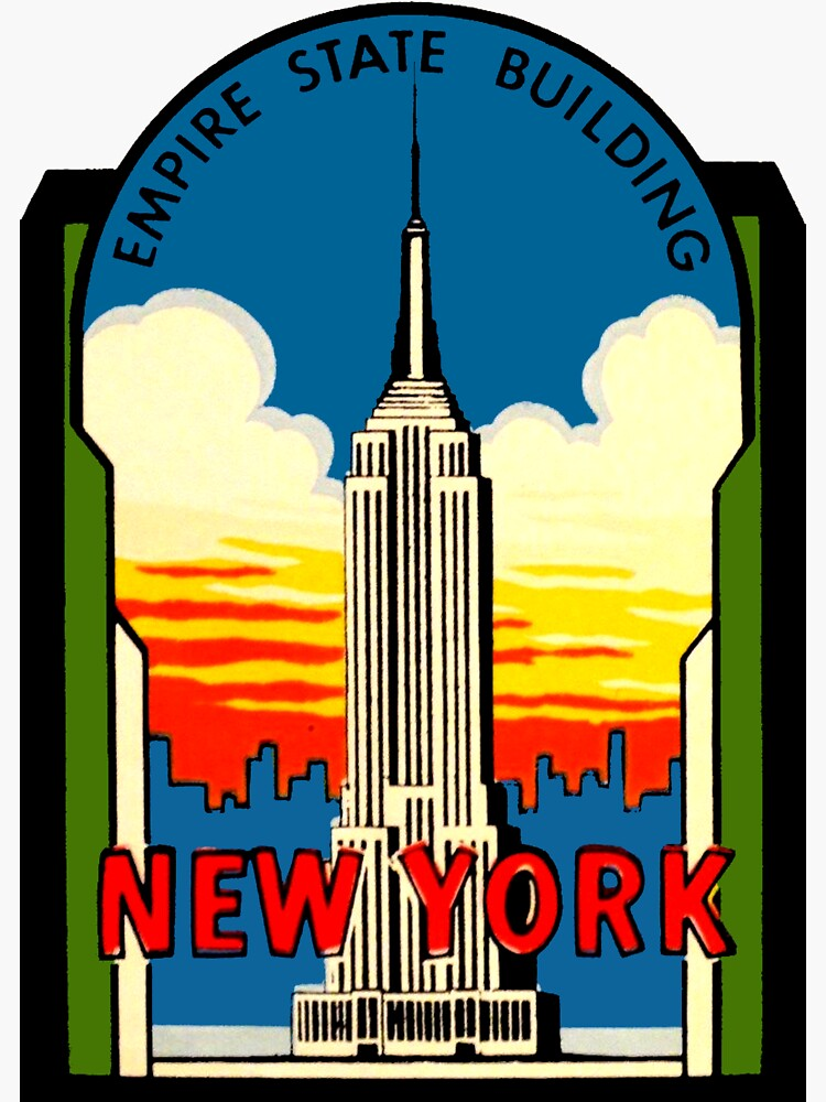 Empire State Building New York City Vintage Travel Decal by hilda74