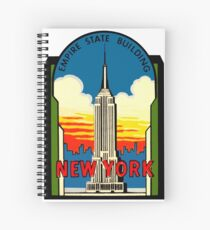 Empire State Building New York City Vintage Travel Decal Spiral Notebook