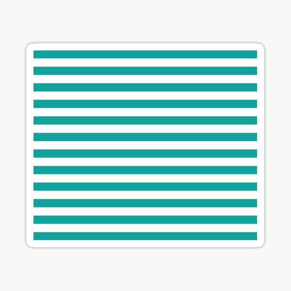 Teal and White Stripes | Stripe Patterns | Striped Patterns | Wide Stripes | Horizontal Stripes | Sticker