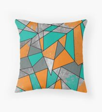 Modern Rustic Orange Teal Gray Silver Geometric Throw Pillow