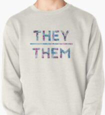 They/Them Floral Design Pullover Sweatshirt