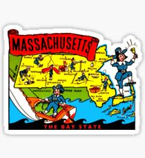 Massachusetts State Map Vintage Travel Decal Sticker