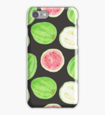 Bright watercolor tropical fruit pattern, guavas iPhone Case/Skin