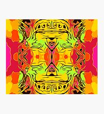 skull head with yellow green red and orange background Photographic Print