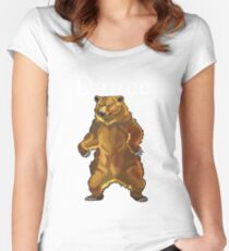 Retro Upright Standing Bear Women's Fitted Scoop T-Shirt