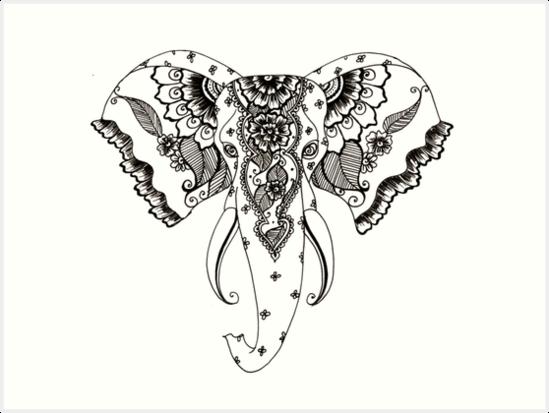 Henna Elephant Art Prints By Gingerqueenxo Redbubble