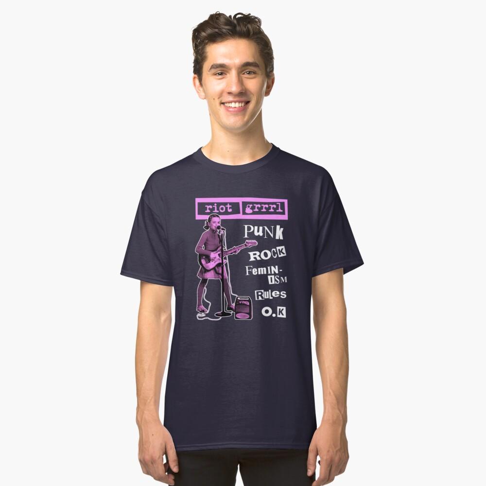 RIOT GRRRL punk rock feminism rules o.k Classic T-Shirt Front