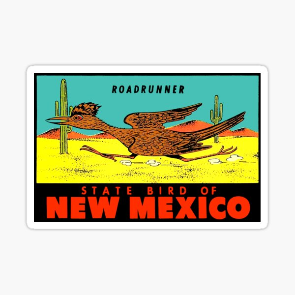 Nuevo México Roadrunner State Bird Vintage Travel Decal Pegatina