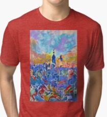 New York CIty Blue by RD Riccoboni Tri-blend T-Shirt