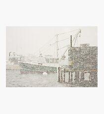 Bass Harbor in Heavy Snowstorm, Mount Desert Island, Maine Photographic Print