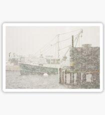 Bass Harbor in Heavy Snowstorm, Mount Desert Island, Maine Sticker