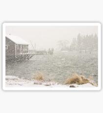 Heavy Snowstorm in Bass Harbor, Mount Desert island, Maine Sticker