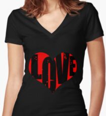 Love in Heart Women's Fitted V-Neck T-Shirt