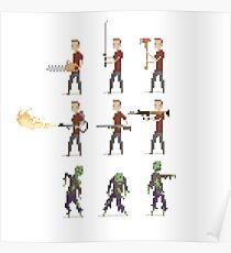 Zombie Apocalypse Pixel Art Poster