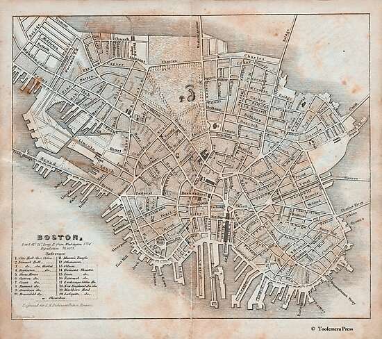Antique Boston Map.Maps Antique 1837 Street Map Of Boston Photographic Prints By