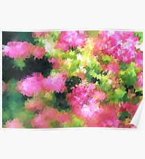 abstract nature bee flowers garden pink green Poster