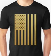 Gold American Flag T Shirt and Merchandise  T-Shirt