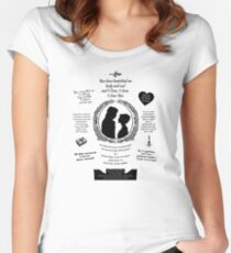 """Pride and Prejudice Elizabeth and Darcy """"Iconic Quotes"""" Silhouette Design  Women's Fitted Scoop T-Shirt"""