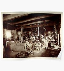 Cabinet Card: 19th Century Pattern Makers: Water Wheel and Bicycles Poster