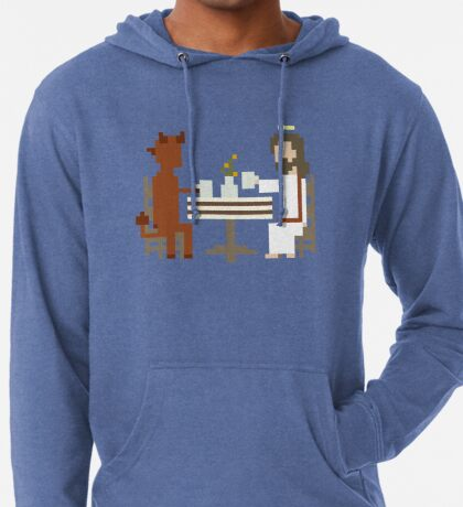 Jesus And Devil Having Coffee Pixel Art Lightweight Hoodie