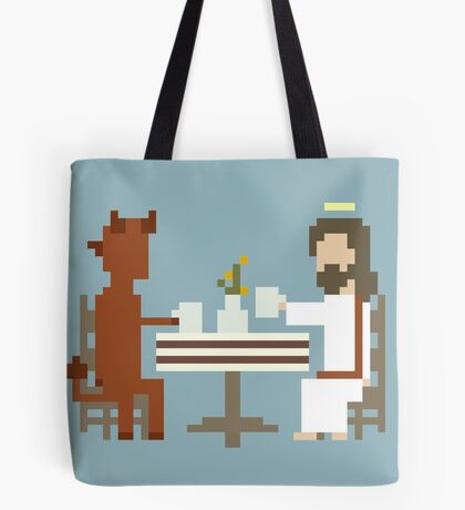 Jesus And Devil Having Coffee Pixel Art Tote Bag