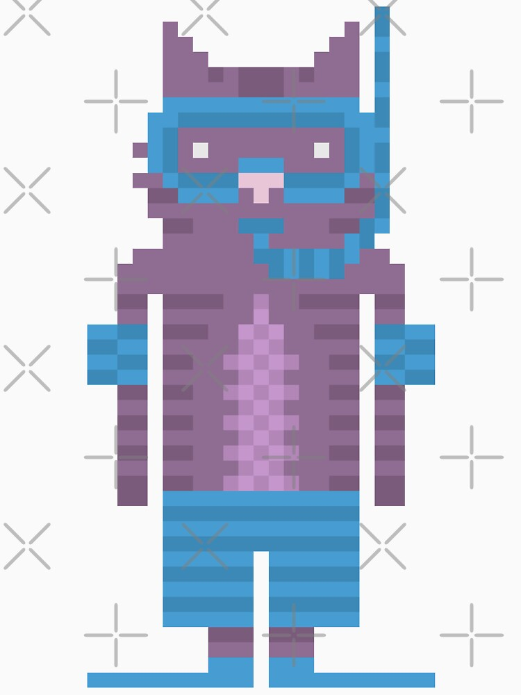 Snorkel Swimmer Cat Pixel Art by obinsun