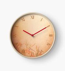 Sepia color lily floral cloth Clock