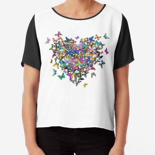 Colorful Butterflies Heart Chiffon Top