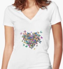 Colorful Butterflies Heart Women's Fitted V-Neck T-Shirt