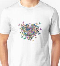 Colorful Butterflies Heart Unisex T-Shirt