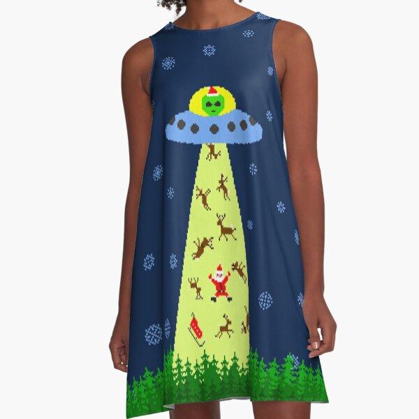 Alien abduction of Santa Claus (sweater) A-Line Dress