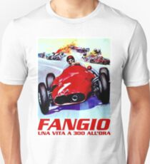FANGIO; Vintage Grand Prix Auto Racing Print Unisex T-Shirt