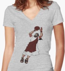 Jumpshot Jesus T shirt Women's Fitted V-Neck T-Shirt