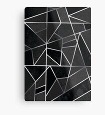 Silver & Black Geometric  Metal Print