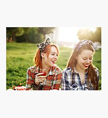 Two Young Happy Girls in Pin-Up Style Photographic Print