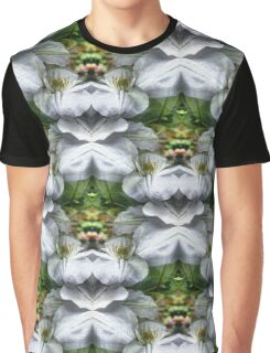 White Clematis Flowers Abstract Graphic T-Shirt