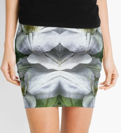 White Clematis Flowers Abstract Mini Skirt
