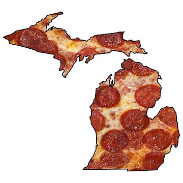 Michigan Shaped Pizza Parody Humor Cute Gift State Fan Shirt  by arcadetoystore