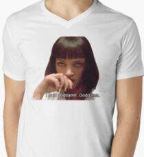 Camiseta para hombre de cuello en v Pulp Fiction - Mia Wallace Face