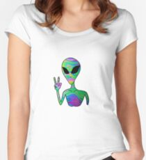 Trippy Alien 7 Women's Fitted Scoop T-Shirt