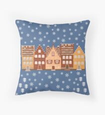 Vector illustration houses in the snow. Throw Pillow