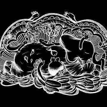 Slone The Elephant - Resting - Black by kinlevoyageur