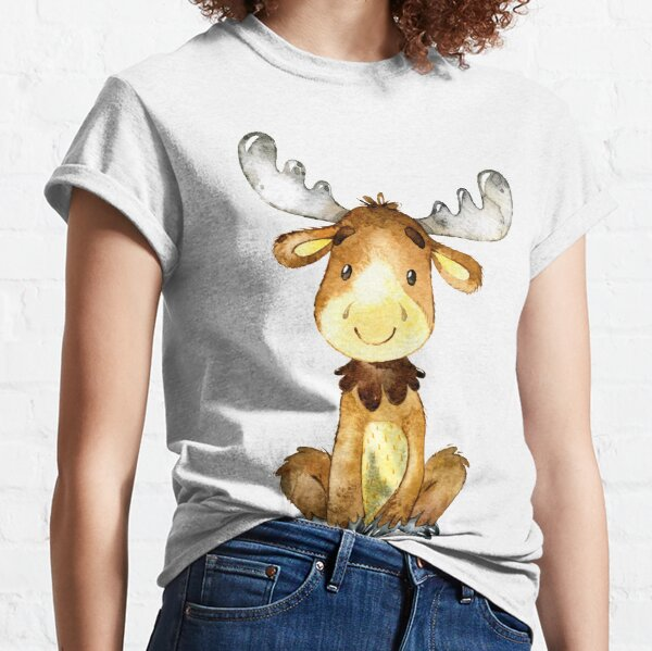 Little moose says hello and welcome watercolour Classic T-Shirt