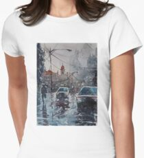 Streetscape watercolor Women's Fitted T-Shirt