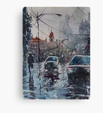 Streetscape watercolor Canvas Print