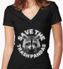 Save the Trash Pandas Raccoon Animal T-shirt Women's Fitted V-Neck T-Shirt